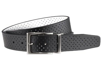 NWT Men's Nike Golf Black & White Perforated Reversible Leather Belt
