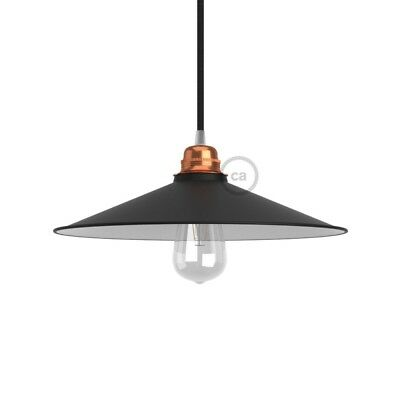 Swing Lampshade - E27 concave metal plate, black polish with white interior