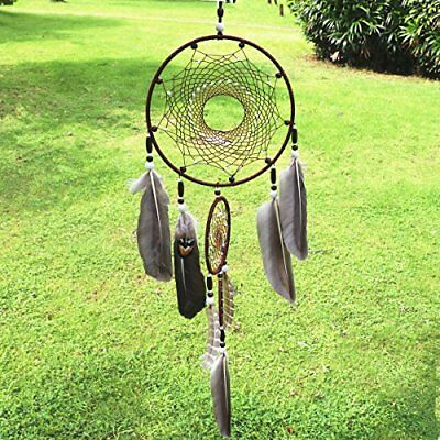 Dremisland Dream catcher Handmade Traditional Brown Feather Wall Hanging Home