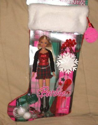 Barbie 2007 Holiday Stocking Set - Barbie Doll in Christmas Outfit with Pendant