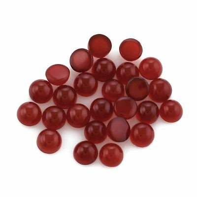 5 PIECES OF 4mm ROUND CABOCHON-CUT NATURAL AFRICAN DEEP RED/ORANGE ONYX GEMS