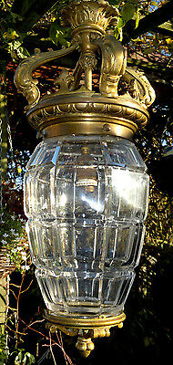 LARGE Antique French Bronze Ceiling Pendant Light Cut Glass Crystal Shade 18.5""
