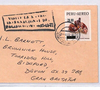 XX140 1977 PERU AIR SURCHARGE 28s on 4s60 Commercial Cover NAZCA CERAMICS POTS