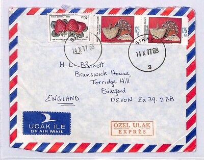 XX150 1977 NORTHERN CYPRUS Girne GB Devon Airmail Cover