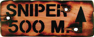 NEW KIDS & ADULTS NOVELTY WOODEN PLYWOOD SNIPER 500m ARMY SIGN 330mm X 140mm