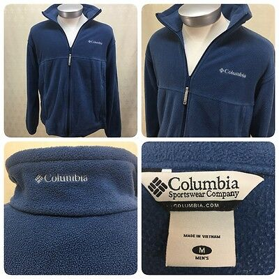 Columbia Full Zip Up Size Men's Medium M Jacket Fleece Blue front pockets     JT