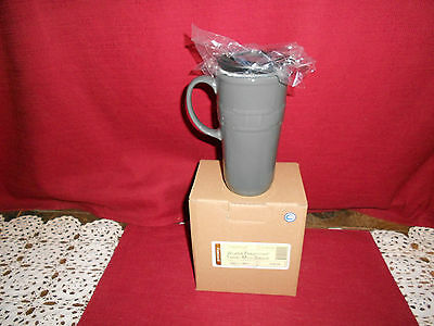 Longaberger WOVEN TRADITIONS TRAVEL MUG ~ PEWTER!    NIB!  SALE!    BUY IT NOW!
