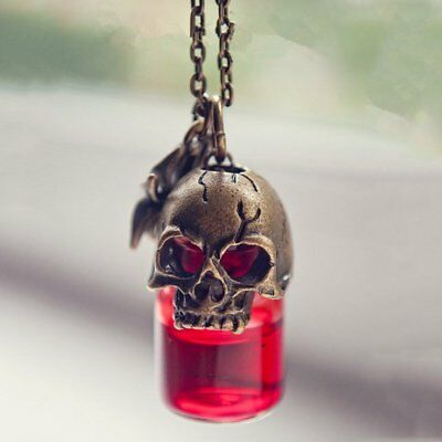Gothic punk skull vampire blood vial bottle fashion pendant necklace gothic punk skull vampire blood vial bottle fashion pendant necklace jewellery mozeypictures Image collections