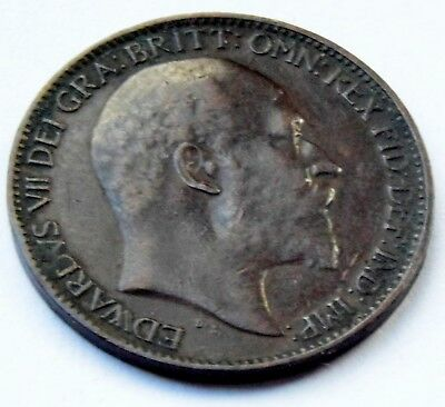1908 Great Britain King Edward Vii  Copper One Farthing Coin Very Good Condition