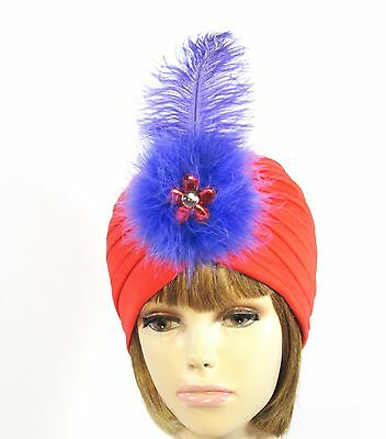 Red Turban Hat Red Crystal Flower Marabou Purple Ostrich Plume Society Ladies