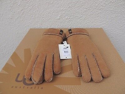dc9545a2a Ugg Chestnut Tenney Suede Sheepskin Cuff Winter Gloves ~Womens Large ~ Nwt
