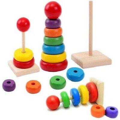 Early Educational Toys Baby Toddler Wooden Pyramid Stack Up Tower Rainbow