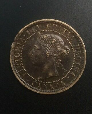 Canada 1888 Victoria ERROR Large Cent Clipped  Cracked Planchet
