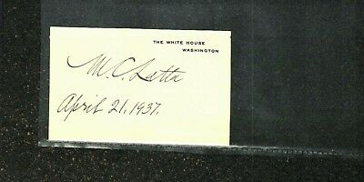 Maurice C. Latta Signed White House Card Dated 1937 FDR Executive Order