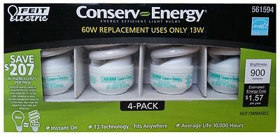 Feit CE13T2 Conserv-Energy 60W Equivalent CFL 13-Watt Light Bulbs, 4-Pack