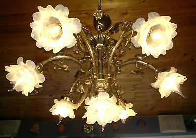 Vintage French Gilt Bronze Art Nouveau Style 6 Arm Ceiling Light Chandelier