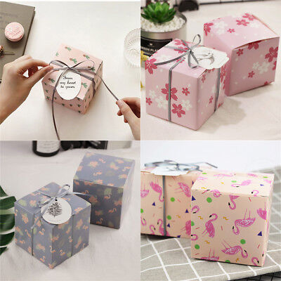 2 pcs Flowers Square Gift Bag Wedding Favor Party Supplies Candy Box