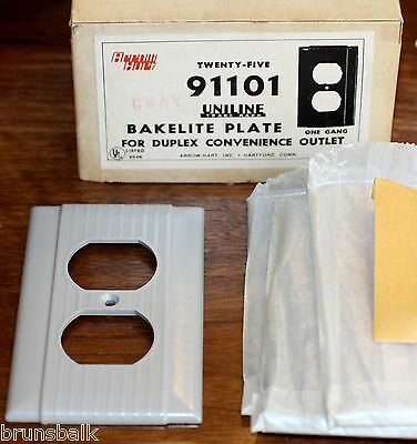 Vintage Gray Bakelite NOS Single Duplex Outlet/Receptacle Cover COMBINED SHPG