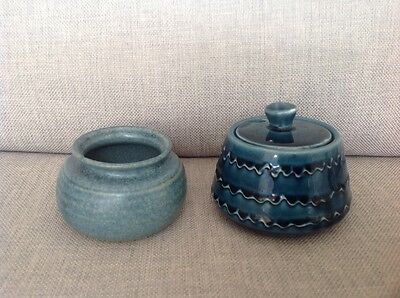 2 Vintage Prinknash Pottery items -one lidded jam pot  - small bowl both in blue