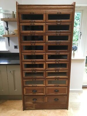 Vintage Oak Haberdashery Cabinet With Drawers