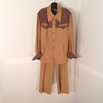 Rare Wool Retro Men's Europe Craft Country Western Rockabilly 2pc Suit