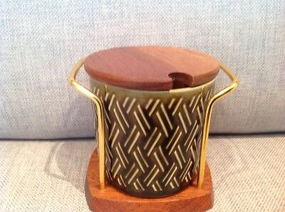 """Vintage """" Lord Nelson"""" jam pot and Wyncraft wood and wire stand"""