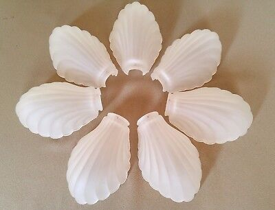 Art Deco Slip shades Frosted Glass Clam Shell Scalloped Set Of 7 For Chandelier
