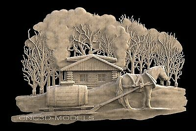 3D STL Models for CNC Router Engraver Carving Artcam Aspire Forest Horse 667