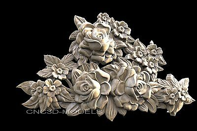3D STL Models for CNC Router Engraver Carving Artcam Aspire Flowers Rose 688