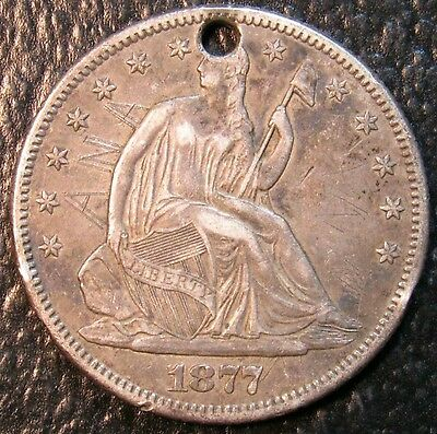 1877-S Seated Half. Holed/Initialed