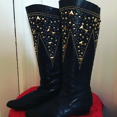 80s Black Gold Studded Boots Size 7.5