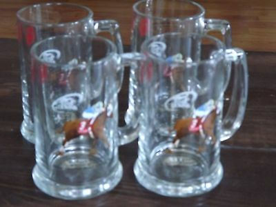 Set of 4 River Downs 2001 Miller Genuine Draft Cradle Stakes Horse Race Glass