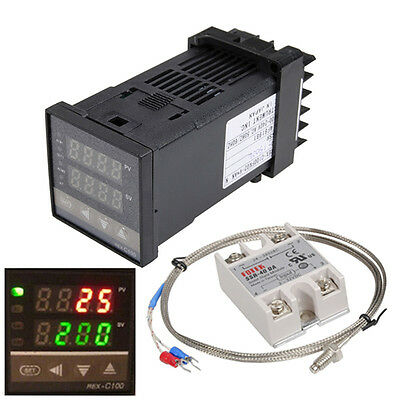 New LCD PID Digital REX-C100 Temperature Controller + max.40A SSR K Thermocouple