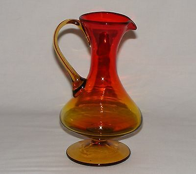 "Vintage Antique  Amberina Art Glass  8"" Pitcher Jug Carafe Applied Handle  Mint"