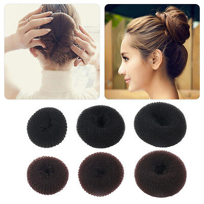 Women Girls Sponge Hair Bun Maker Ring Donut Shape Hairband Styler Tool OI