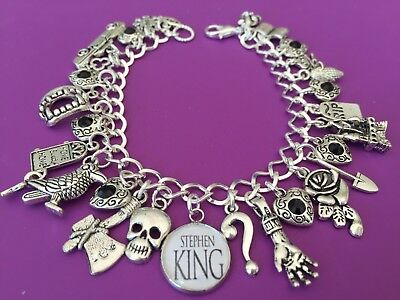 Stephen King Charm Bracelet, Horror, Author, It, Scary, Silver Gift