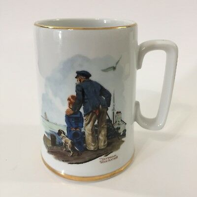 NORMAN ROCKWELL Museum Looking Out To Sea Collectors Coffee Mug Stein 1985