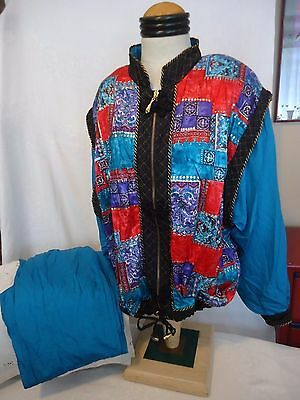Vintage Lavon Windbreaker Suit Women's Track Pants Jacket Sz L 1980's 90's