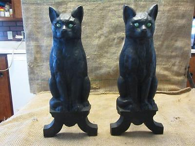 Vintage Set Cast Iron Cat Fireplace Andirons w Glass Eyes Antique Fire Dogs 9802
