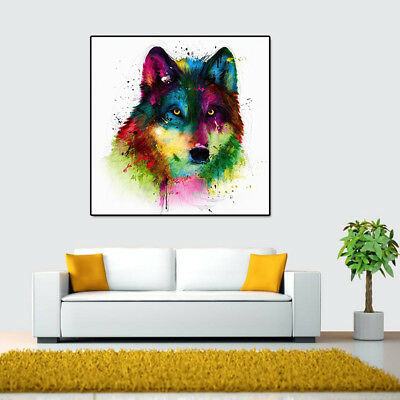 Unframed Modern Abstract Oil Painting Colorful Wolf Head Huge Wall Decor