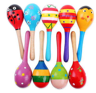 Colorful Kids Wooden Maracas Rattle Toy Sand Hammer Rattle Musical Percussion