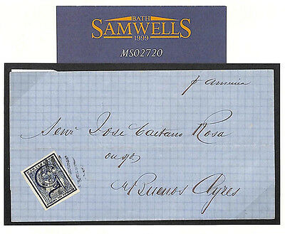 """MS2720 1870 URUGUAY CLASSIC 5c *SMALL """"S"""" VARIETY* Maritime Cover Buenos Ayres"""
