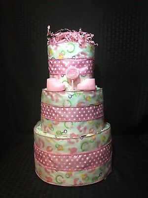 Baby Girl Diaper Cake 3 Tier Baby Shower Gift Centerpiece Pink