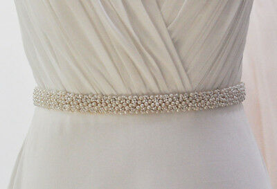 Bridal Sash Pearl Beaded Wedding Dress Waistband Ribbon Belt Party Accessories