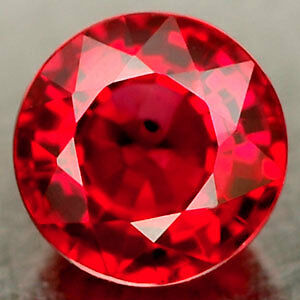 UNUSUAL 10mm ROUND-FACET TOP-RED LAB RUBY GEMSTONE