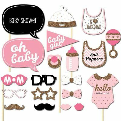 20pcs Baby Shower Photo Booth Props Little Lady Boy New Born Party Decoration