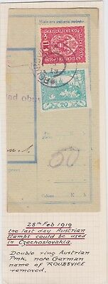Czechoslovakia-1919 Last day of Austrian stamps could be used packet card cover