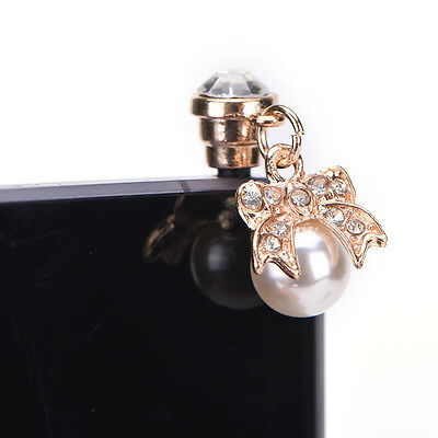 Diamond bow of pearl metal dust plug for headphone hole universal O8W