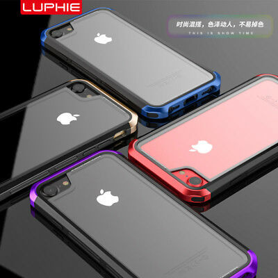 Luxury Luphie Transparent PC Tempered Glass Metal Bumper Case For iPhone 6s 7