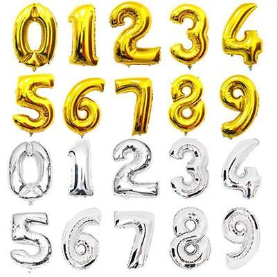 """16""""/40'' Silver Gold Blue Pink Foil Balloons Number Birthday Party Baby Kids Dec"""